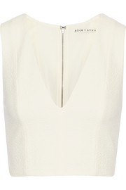 Jaya cropped mesh-paneled crepe top