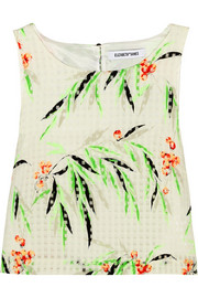 Terri cropped printed organza top