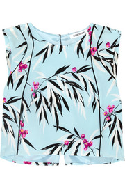 Cropped printed silk crepe de chine top