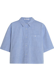 Cropped cotton-chambray shirt