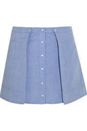 Cotton-chambray mini skirt