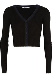 Cropped ribbed wool cardigan