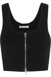 T by Alexander Wang Cropped ribbed-knit cotton-blend top