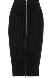 Ribbed-knit cotton-blend midi skirt
