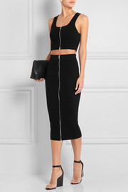 T by Alexander Wang Ribbed-knit cotton-blend midi skirt
