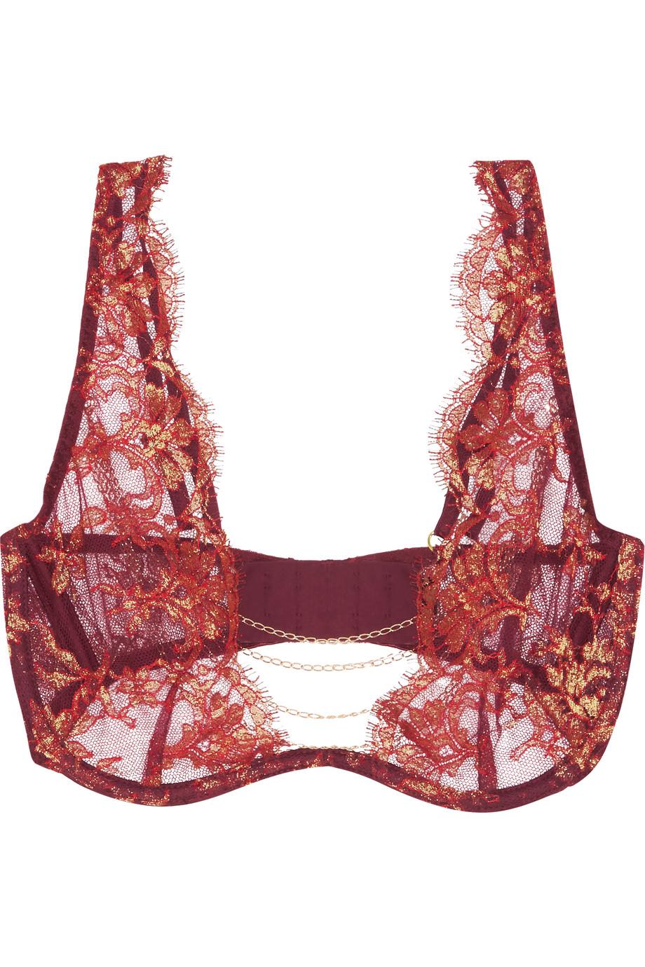 Agent Provocateur Soirée Inka Chain-Trimmed Metallic Leavers Lace Underwired Bra, Claret, Women's, Size: 32C