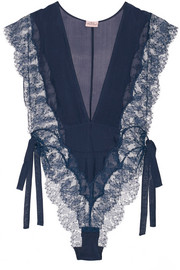 Willa silk-chiffon and Leavers lace bodysuit