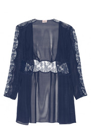 Willa Leavers lace-paneled silk-chiffon robe