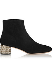 Crystal-embellished suede ankle boots