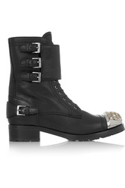 Swarovski crystal-embellished leather ankle boots