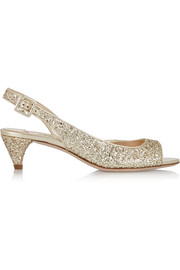 Miu Miu Glitter-finished twill sandals