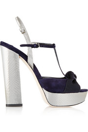 Metallic watersnake, suede and grosgrain platform T-bar sandals