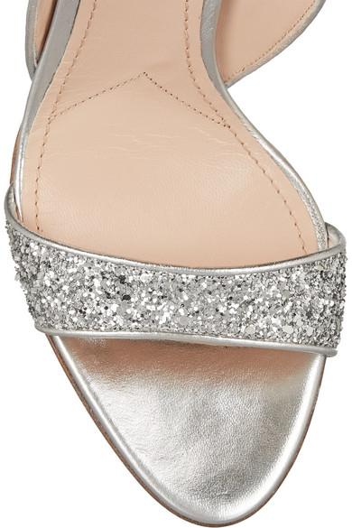034f2b6eb602 Miu Miu. Swarovski crystal-embellished glittered leather sandals.  745.  Zoom In