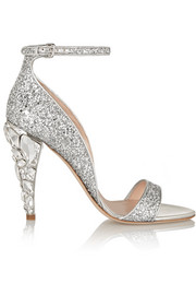 Swarovski crystal-embellished glittered leather sandals