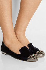Embellished velvet loafers