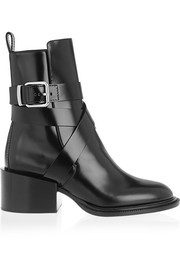 Buckled glossed-leather ankle boots