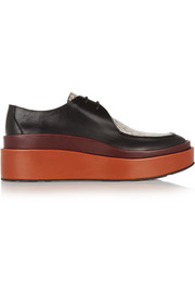 Jil Sander Ayers-paneled leather platform loafers