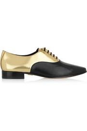 Michael Kors Lottie metallic-paneled leather brogues