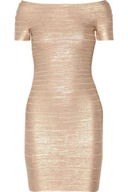 Carmen metallic bandage mini dress