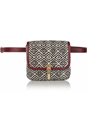 Cynnie leather-trimmed basketweave belt bag