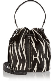 Cynnie zebra-print calf hair bucket bag