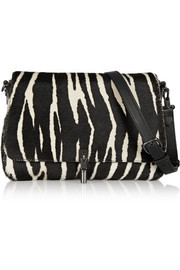 Cynnie mini zebra-print calf hair shoulder bag