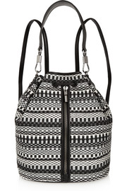 Elizabeth and James Cynnie Sling textured leather-trimmed woven shoulder bag