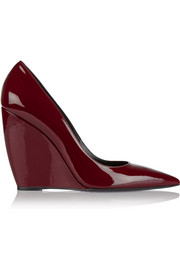 Lizy patent-leather wedge pumps