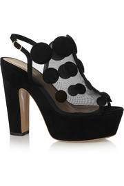 Quantum polka-dot suede and mesh platform sandals