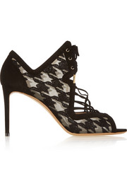 Ava houndstooth-embroidered mesh and suede sandals