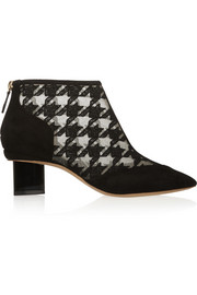 Prism embroidered mesh and suede ankle boots