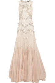 Embellished d�grad� tulle gown