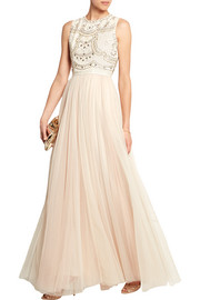 Sequin-embellished crepe and tulle gown