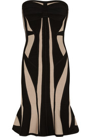 Hervé Léger Strapless two-tone bandage dress