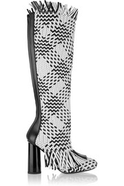 Woven leather knee boots