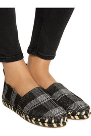 Checked wool-blend espadrilles