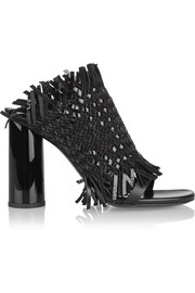 Proenza Schouler Woven patent-leather and suede mules