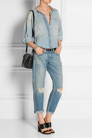 The Boyfriend distressed mid-rise jeans