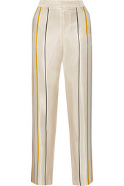 Smith striped silk-twill wide-leg pants