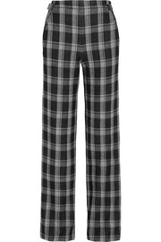 Plaid wool-blend crepe wide-leg pants