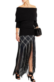 Fringed plaid basketweave canvas maxi skirt