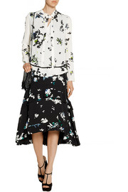 Tiered floral-print silk-georgette skirt