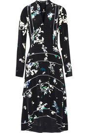 Tiered floral-print silk crepe de chine midi dress