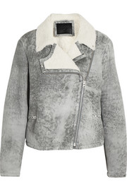Distressed shearling biker jacket