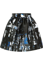 Printed satin-twill mini skirt