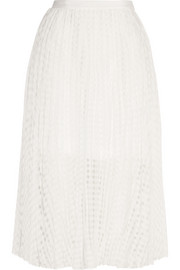 Sunray pleated checked jacquard skirt