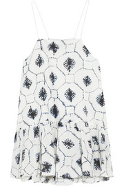Ruffled printed cotton and silk-blend camisole