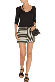 Ren striped cotton-blend jersey shorts