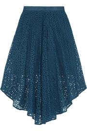 Hanae broderie anglaise cotton and silk-blend midi skirt