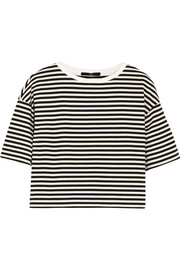 Ren cropped striped cotton-blend jersey top